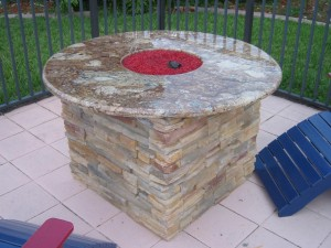 Custom Fire Pit With Stainless Fire Ring And Red Fire