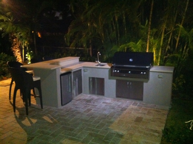 Custom Outdoor Kitchen With Built In Alfresco Bbq Grill And Built In
