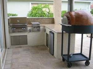 custom outdoor kitchen with alfresco built in bbq grill and stone ...