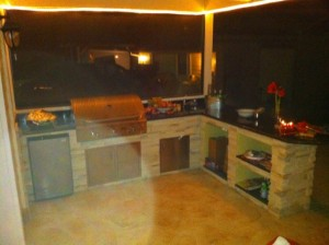 Custom outdoor kitchen grill island and bar
