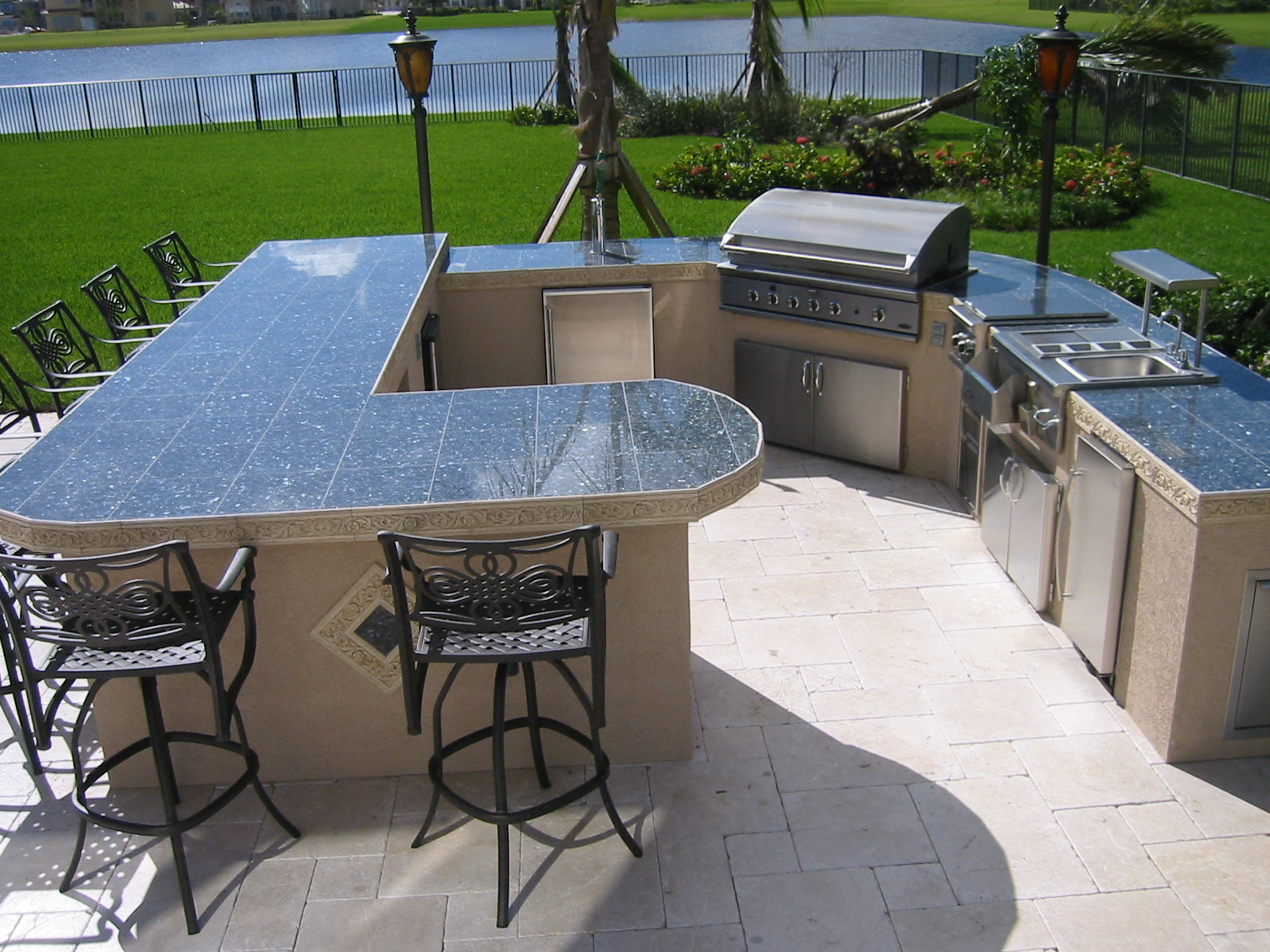 Huge custom outdoor kitchen with built in dcs gas bbq for Backyard built in bbq ideas