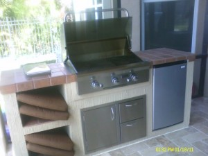 American outdoor grill built in with combination access door drawers