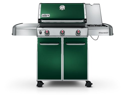 new 2011 Weber genesis enameled green gas barbeque grill with front burner design