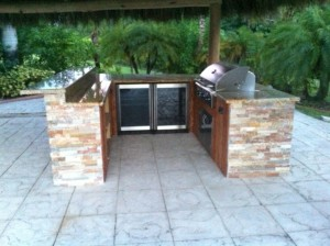 custom outdoor kitchen grill island with built in refrigeration