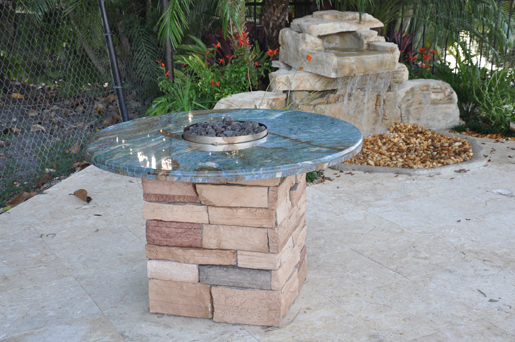 Firemagic Built In Bbq And Gas Fire Pit Custom Built With Blue Granite And Natural Stone Gas Grills Parts Fireplaces And Service