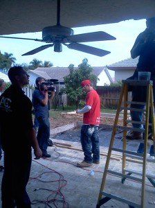 Vanilla Ice filming on site while renovating this backyard with Majestic Grill Parts