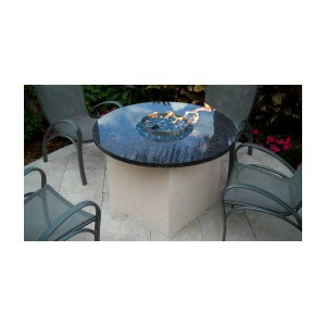 custom gas fire pit with granite