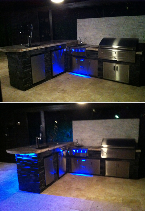 Custom outdoor kitchen led lighting changes color with dramatic custom outdoor kitchen and bar aloadofball Choice Image