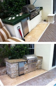 before and after changing old grill island into new grill island
