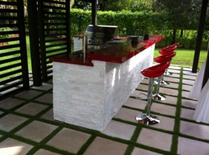 quartz stone and marble finished custom outdoor kitchen