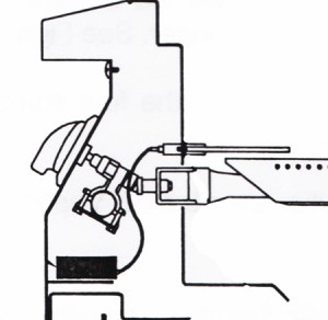 Solaire Schematic showing burner, valve, electrode, manifold, orifice side view.