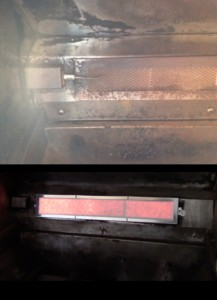 Infrared rotisserie burner installed in Dynasty bbq grill burning red flame.