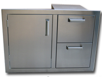 built in bbq grill door and drawers