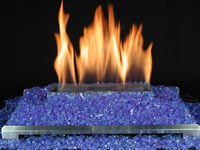 vented and ventless colored glass gas fire