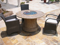 custom gas firepit with built in grill island bbq