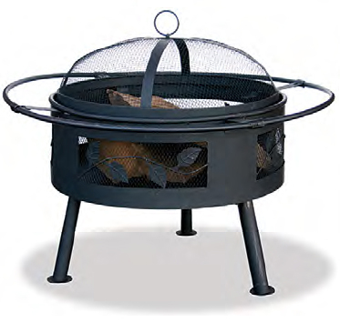 wood burning fire pit with leave design cut out