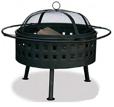 black aged bronze wood burning fire pit
