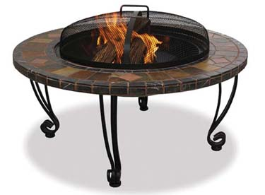copper and tile mosaic table wood burning fire pit