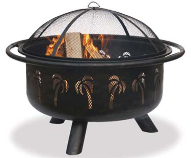 wood burn black firepit with palm tree cut out