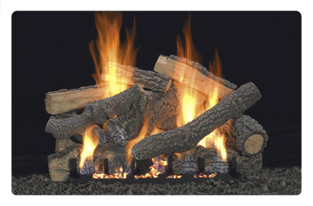 Free shipping vent free fireplace gas log kit.  Ceramic gas logs for masonry and vented or vent-free firebox