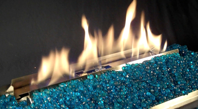 Stainless and black ventless gas fireplaces with Vent-Free fire glass reflective colored alternative fireplace hearths.