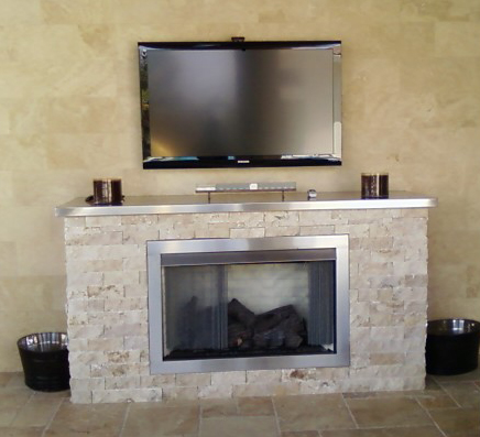 Custom Outdoor Gas Fireplace - Vented And Ventless Gas Log Fireplace, Free Shipping For All
