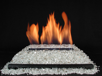ventless gas log white glass fire