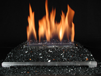 ventless gas log black glass fireplace