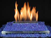 Ventless Blue fire glass and Free Shipping with stainless or blach burner and valve options.