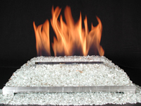ventless gas fireplace with stainless burner, white crushed fire glass