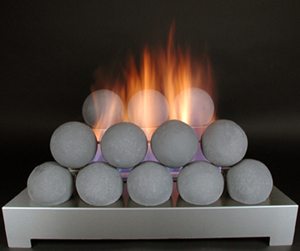 ventless gas fire ball fireplace alternative with gray cannon balls and stainless steel gas fireplace burner
