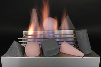 ventless gas log fire shapes color