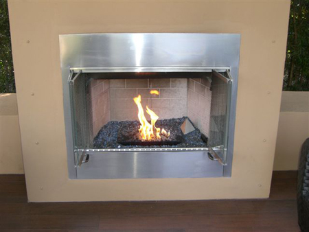 gas log fireplace outdoor ventless pan burner