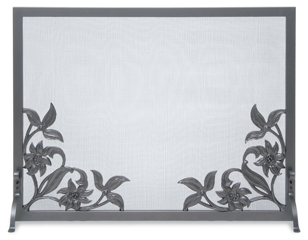 fireplace accessories screen flat panel cast sunflower