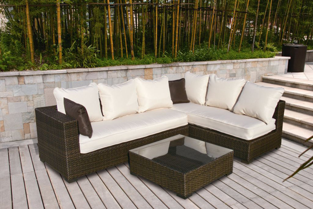 resin wicker outdoor furniture armchair orange