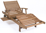 eucalyptus wood adjustable chaise lounge