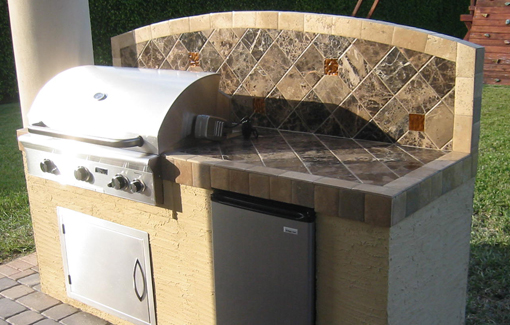 Built in bbq grills by american outdoor grill for outdoor for Pre built outdoor kitchen islands