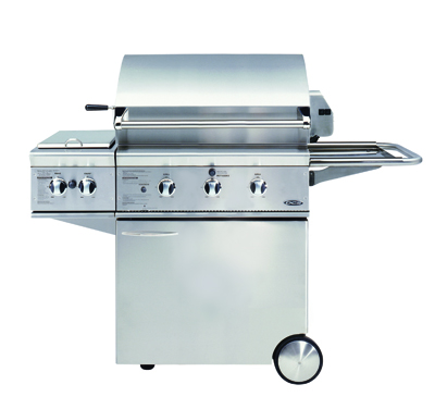 dcs bgb 30 gas bbq grill on cart with side burner and side shelf