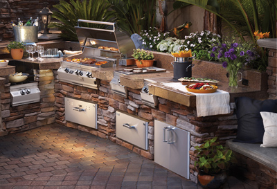 fire magic built in bbq grill in custom outdoor kitchen grill island