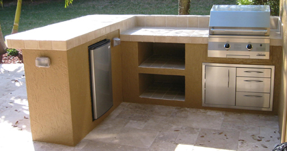 solaire built in bbq grill in custom outdoor kitchen