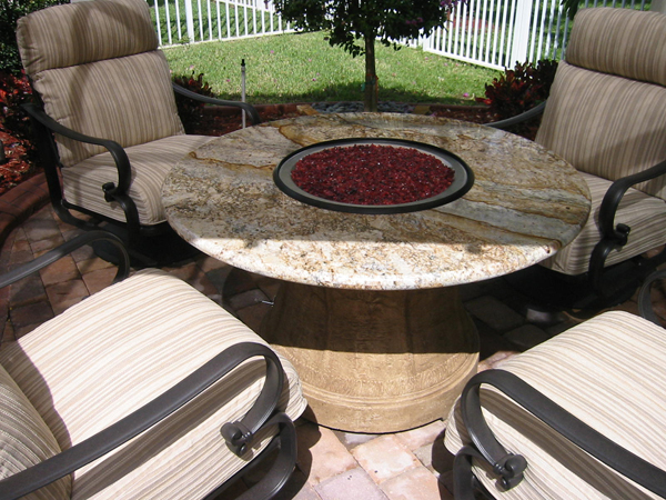custom firepit dining table