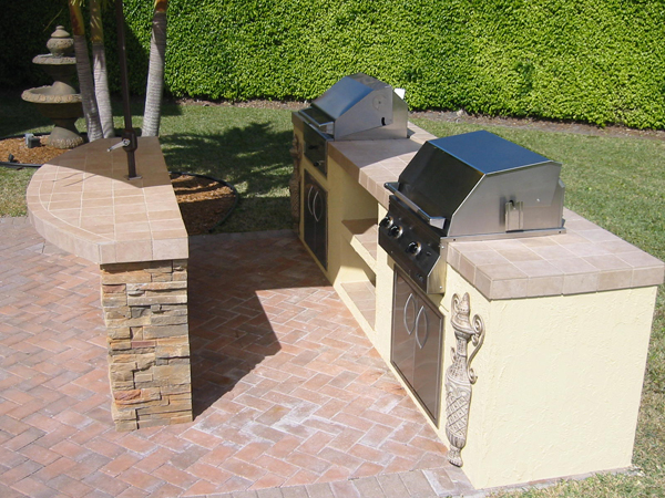 gas and charcoal built in barbecue grill islands