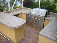 built in grill on a cart outdoor kitchen grill island