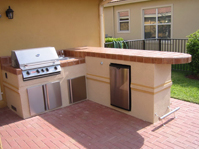 outdoor kitchen with Bull outdoor grill built in