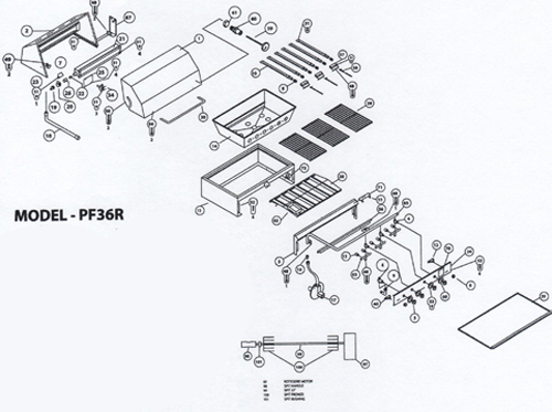 spec drawings show all the parts of the grill in an exploded view