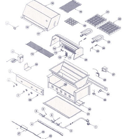 replacement parts schematic explosion for emperor bbq grills