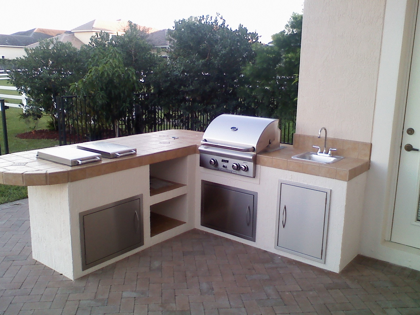 Aog24 Built In American Outdoor Grill Island Kitchen With Aog Side Burners