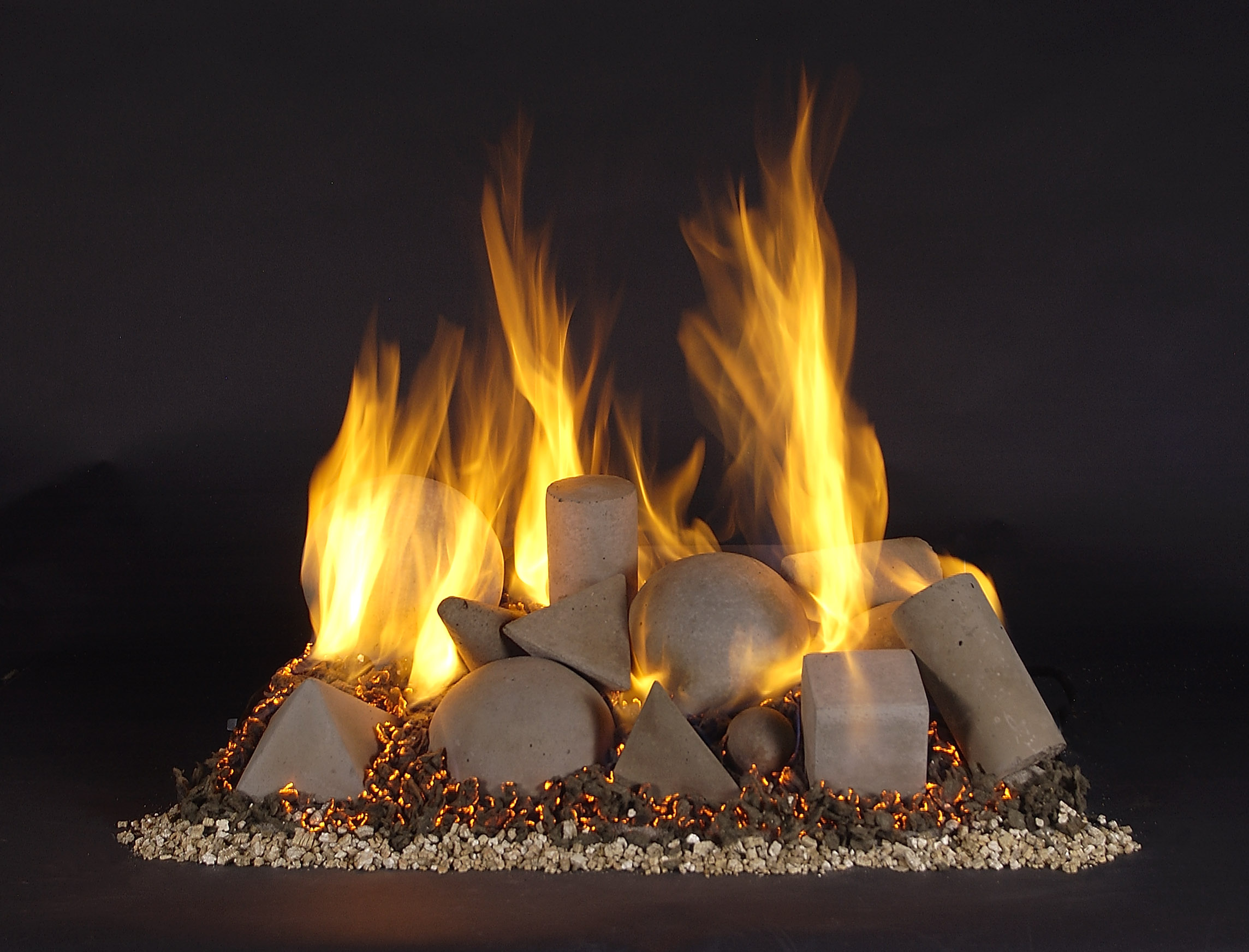 Vented Gas Log Fire Shape Fireplace
